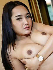 25 Year Old Big Boobed Thai Ladyboy Gets Covered In Load Of Cum