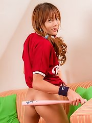 Teen dickgirl Diamond sprung and spread in a baseball jersey