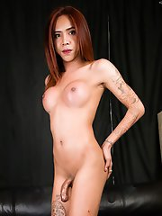 Yoghurt is a horny Bangkok tgirl with a sexy body, big breasts, a great ass and a sexy uncut cock! Watch this horny transgirl stripping and stroking h