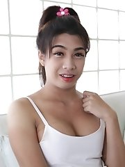 21yo Busty Thai Shemale Does A Striptease For The Camera